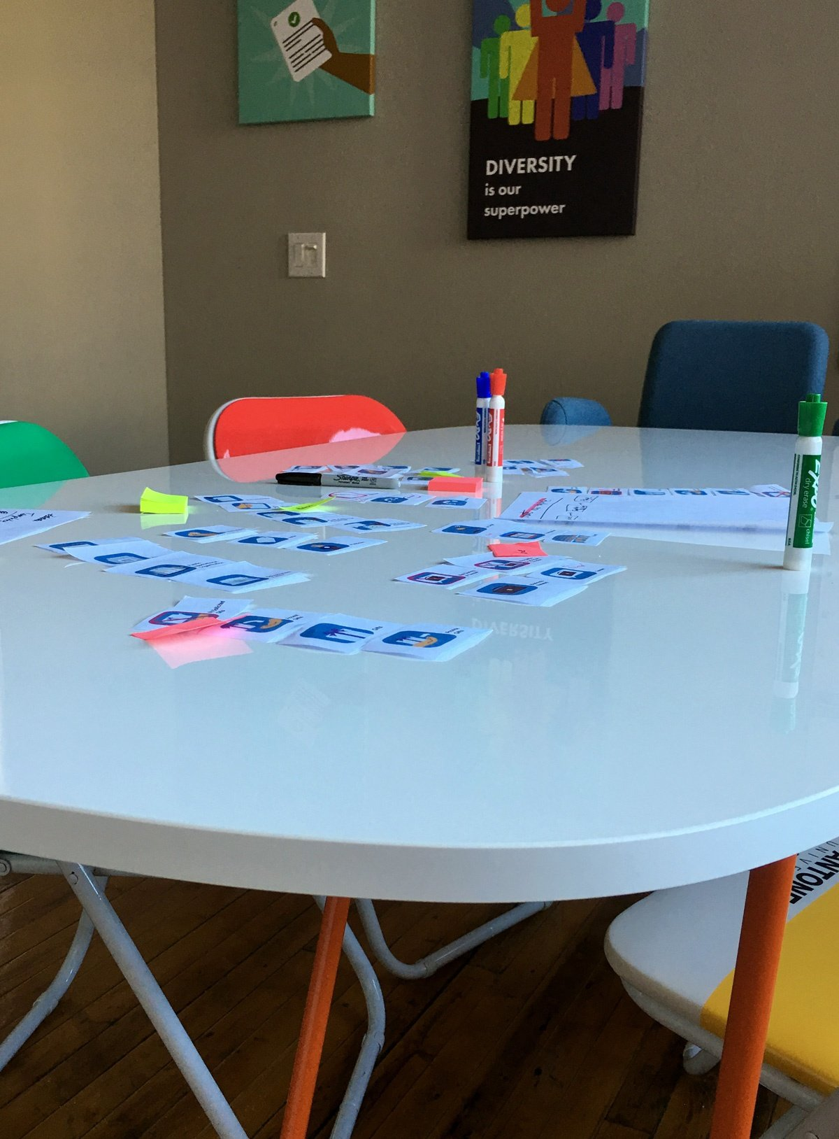 A table at Broadcat, with markers, Pantone chairs, and proprietary strips of paper.