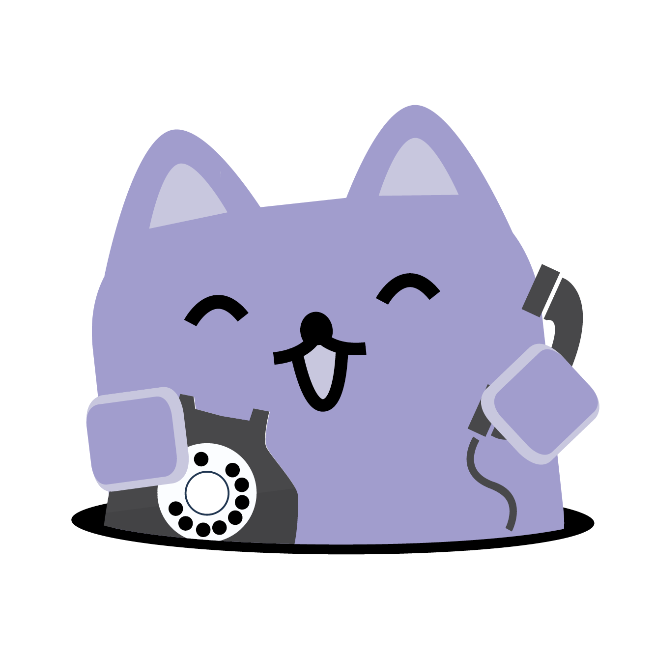 Broadcat, with a phone.