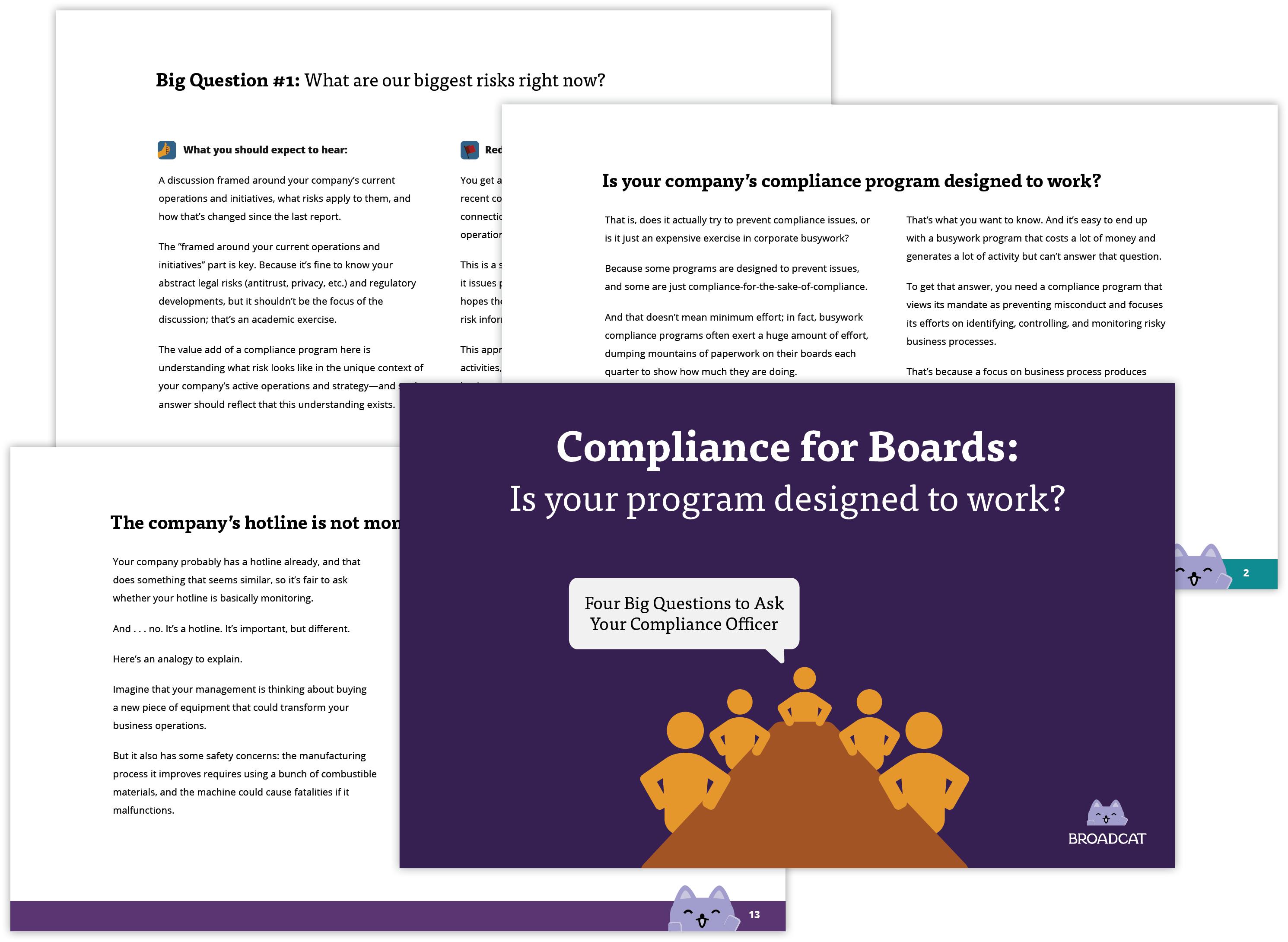 a group of slides from the Compliance for Boards desk
