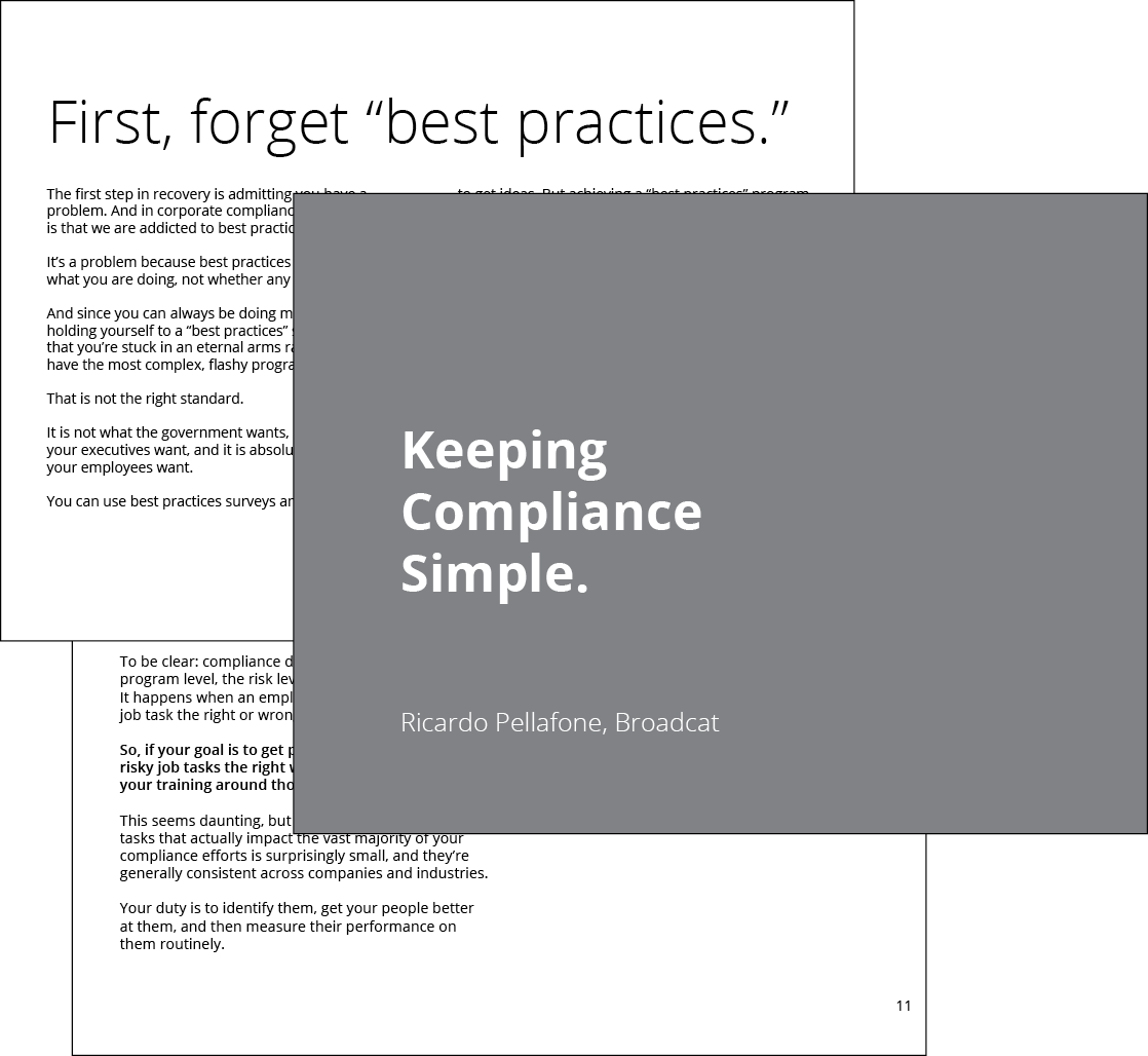 Preview of our Keeping Compliance Simple guide, from us at Broadcat. Download it now, for free!