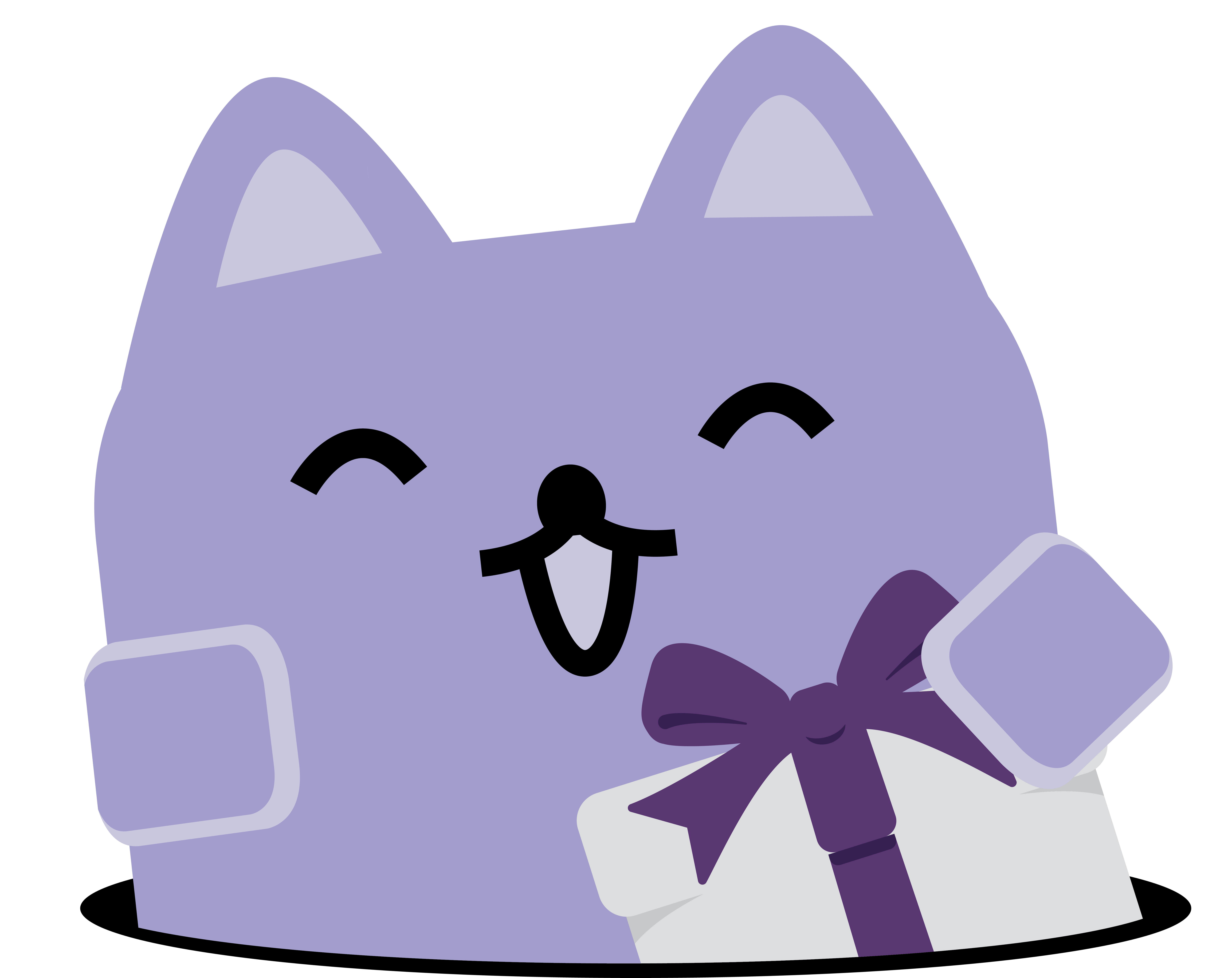 Broadcat, holding a gift.