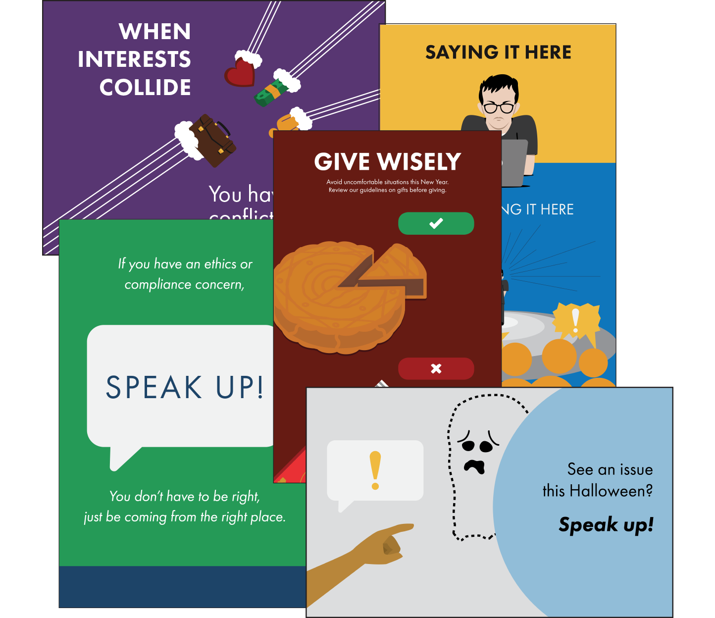 A display of screensavers and posters for compliance awareness, from Broadcat.